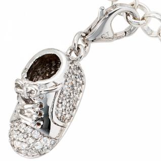 Einhänger Charm Babyschuh 925 Sterling Silber rhodiniert mit Zirkonia