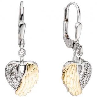 Boutons Herz Flügel 925 Silber bicolor mit Zirkonia Ohrringe Ohrhänger