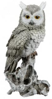Eule Owl Eulen-Figur Deko-Kautz Herbsteule Herbstdeko/Weihnachten Schneeeule Wintereule Grau Weiß 32cm Groß