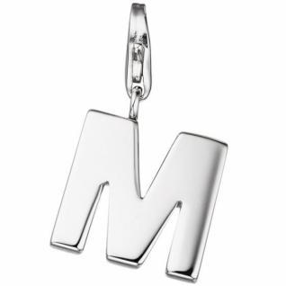 Einhänger Buchstabe M 925 Sterling Silber Anhänger für Bettelarmband