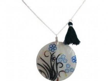 Halskette Anhänger Medaillon Perlmutt FLOWERS 925 Silber Schwarz 5 cm f63aa1b066