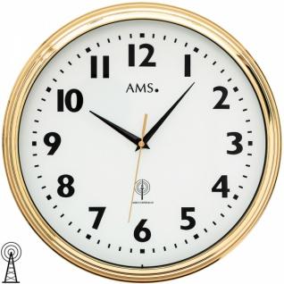 AMS 5963 Wanduhr Funk analog messing farben golden rund mit Glas