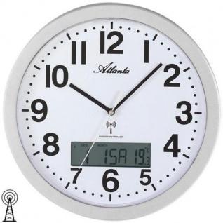 Atlanta 4380/19 Wanduhr Funk analog silbern mit Datum Thermometer