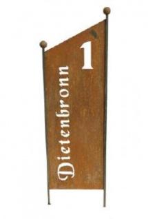 Schild aus Metall mit Hausnummer uns Strassenname ca. 154 cm hoch