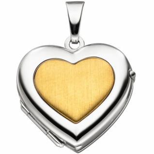 Medaillon Herz für 2 Fotos 333 Weißgold Gelbgold bicolor Anhänger