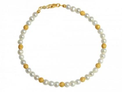 Gemshine Damen Armband Zuchtperlen Weiß Vergoldet 19 cm