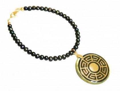 Gemshine Armband Medaillon Perlen Perlmutt Vergoldet Grau Tahiti