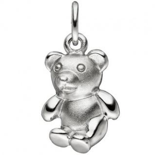 Kinder Anhänger Teddy Teddybär 925 Sterling Silber matt mattiert
