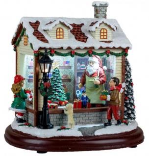 Spieluhr beleuchtet mit LED Nikolaus im Kaufladen mit Zug 23 cm