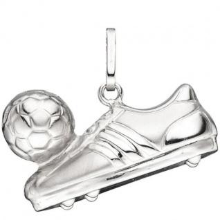 Anhänger Fußball Fußballschuh mit Ball 925 Sterling Silber mattiert