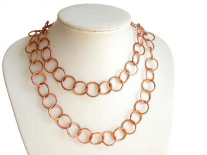 Damen Halskette 90 cm lang Rose Vergoldet LOOPS