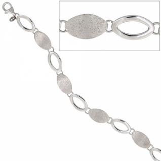 Armband 925 Sterling Silber rhodiniert teilmattiert 19 cm Karabiner