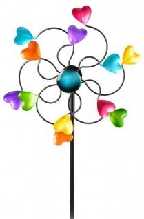 Windrad für den Garten aus Metall Herzen lila/blau/rot/grün 110 cm