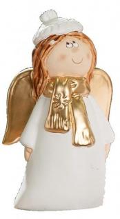 GILDE Keramik Engel mit goldenem Schal, 14 cm