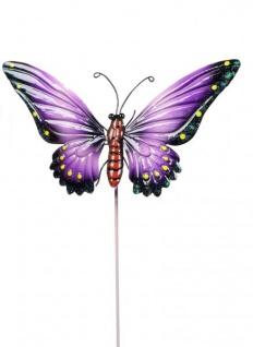 Gartendeko Gartenstecker Dekostecker Schmetterling Metallstecker lila 26 cm