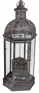 orientalische 5 flammige Deko-Laterne Stahllaterne Windlicht italienische Gartenlaterne Teelichthalter antik-goldenem Metall 26x58cm Lampe
