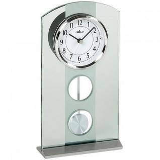 Atlanta 3120 Tischuhr quarz mit Pendel silbern modern mit Glas