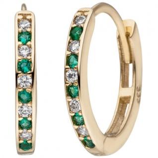 Creolen oval 333 Gold Gelbgold 10 Zirkonia grün weiß Ohrringe