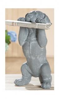 GILDE Dekofigur Hund, wetterfest, grau weiß, 46 cm