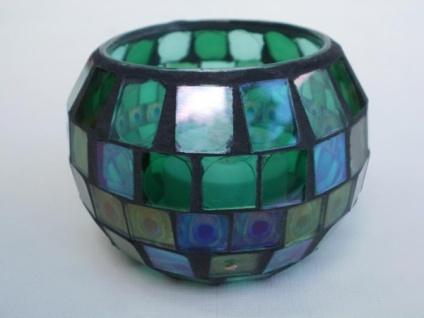 Windlicht Mosaik-Glas mit LED, 8, 5 cm
