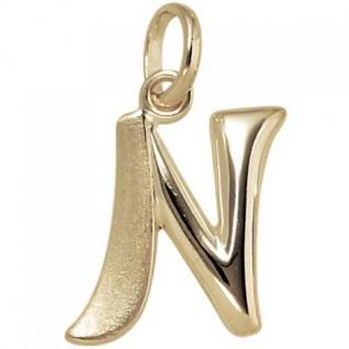 Anhänger Buchstabe N 375 Gold Gelbgold Buchstabenanhänger
