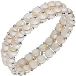 Armband 2-reihig Süßwasserperlen mit 925 Silber 17 cm