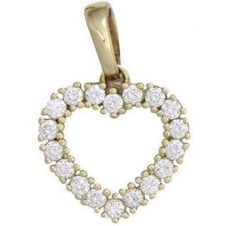 Anhänger Herz 585 Gold Gelbgold 18 Diamanten Brillanten 0, 50ct.