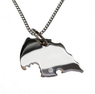 FEHMARN Anhänger 925 Silber mit Brillant am Wunschort mit Halskette
