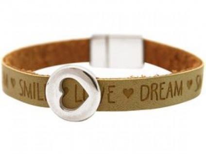 Damen Armband Herz Liebe WISHES Braun Sand Silberfarben - Vorschau