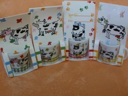 4 Mini-Tassen mit Kuh-Motiven aus Porzellan