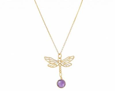 Halskette Anhänger 925 Silber Vergoldet LIBELLE Amethyst Lila