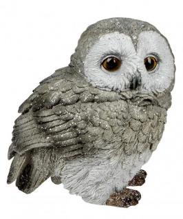 Eule Owl Eulen-Figur Deko-Kautz Herbsteule Herbstdeko/Weihnachten Schneeeule Wintereule Grau Weiß 16cm Groß