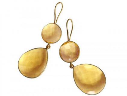 Ohrringe Silber Vergoldet Citrin Quarz Gelb Gold CANDY Tropfen 18 mm