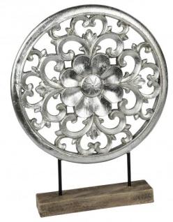 modernes Wohnaccessoires Wohndeko Zimmerdeko Deko-Ornament antik silber aus Kunststein und Holz 30x39cm groß