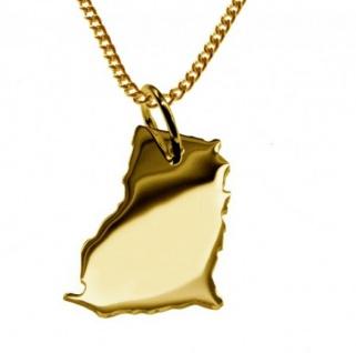GHANA Kettenanhänger aus massiv 585 Gelbgold mit Halskette