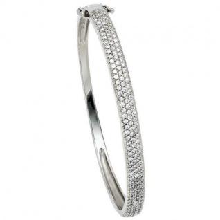 Armreif Armband 925 Sterling Silber mit Zirkonia Klappverschluss