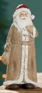GILDE Weihnachtsmann mit Geschenke Sack im Holz Look, 24 cm
