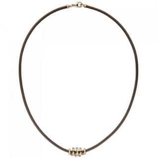 Halskette Leder Taupe mit 585 Rotgold 47 Diamanten Brillanten 45 cm