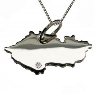 TSCHECHIEN Anhänger aus Silber mit Brillant am Wunschort mit Halskette
