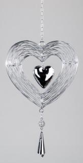Hängedekoration Herz aus Metall und Glas, silber, 19 cm
