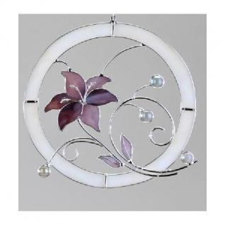 Fensterbild aus Tiffany-Glas Blume in Lila