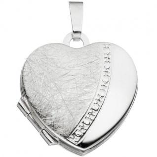Medaillon für 2 Fotos Herz 925 Sterling Silber eismatt zum Öffnen