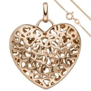 Anhänger Herz 925 Sterling Silber rotgold vergoldet mit Kette 50 cm