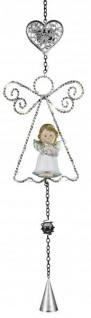 LED Fensterdeko Weihnachten Engel mit Herz aus Metall zum Hängen weiß 58 cm
