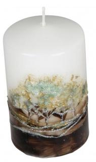 Stumpenkerze Baumdekor modern weiß braun gold 7 x 11 cm rund