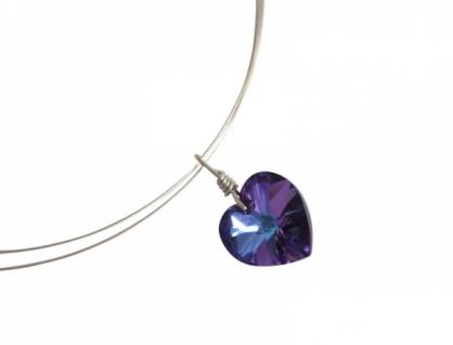 Herz Halskette *Blau-Violett* Silber WITH SWAROVSKI ELEMENTS®