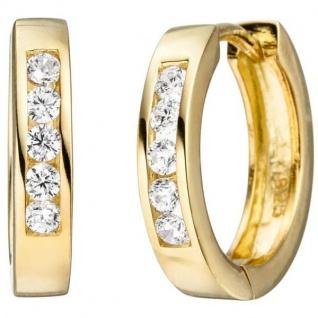 Creolen 925 Sterling Silber gold vergoldet 10 Zirkonia Ohrringe