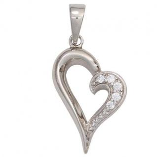 Anhänger Herz 925 Sterling Silber rhodiniert mit Zirkonia