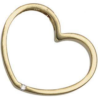 Anhänger Herz 585 Gelbgold matt 1 Diamant Brillant Herz Anhänger