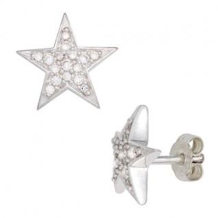 Ohrstecker Stern 925 Sterling Silber rhodiniert mit Zirkonia 10, 8 mm